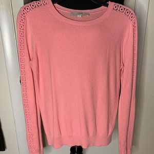 LOFT long sleeve lace silk added crew neck sweater